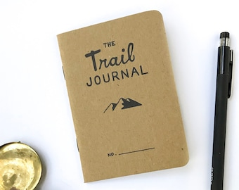 The Trail Journal. Prompted Hiking Log. Pocket Walking Journal. Backpacking Diary. Hiker Gift. Camp Diary. Trail Log. Wanderlust Notebook