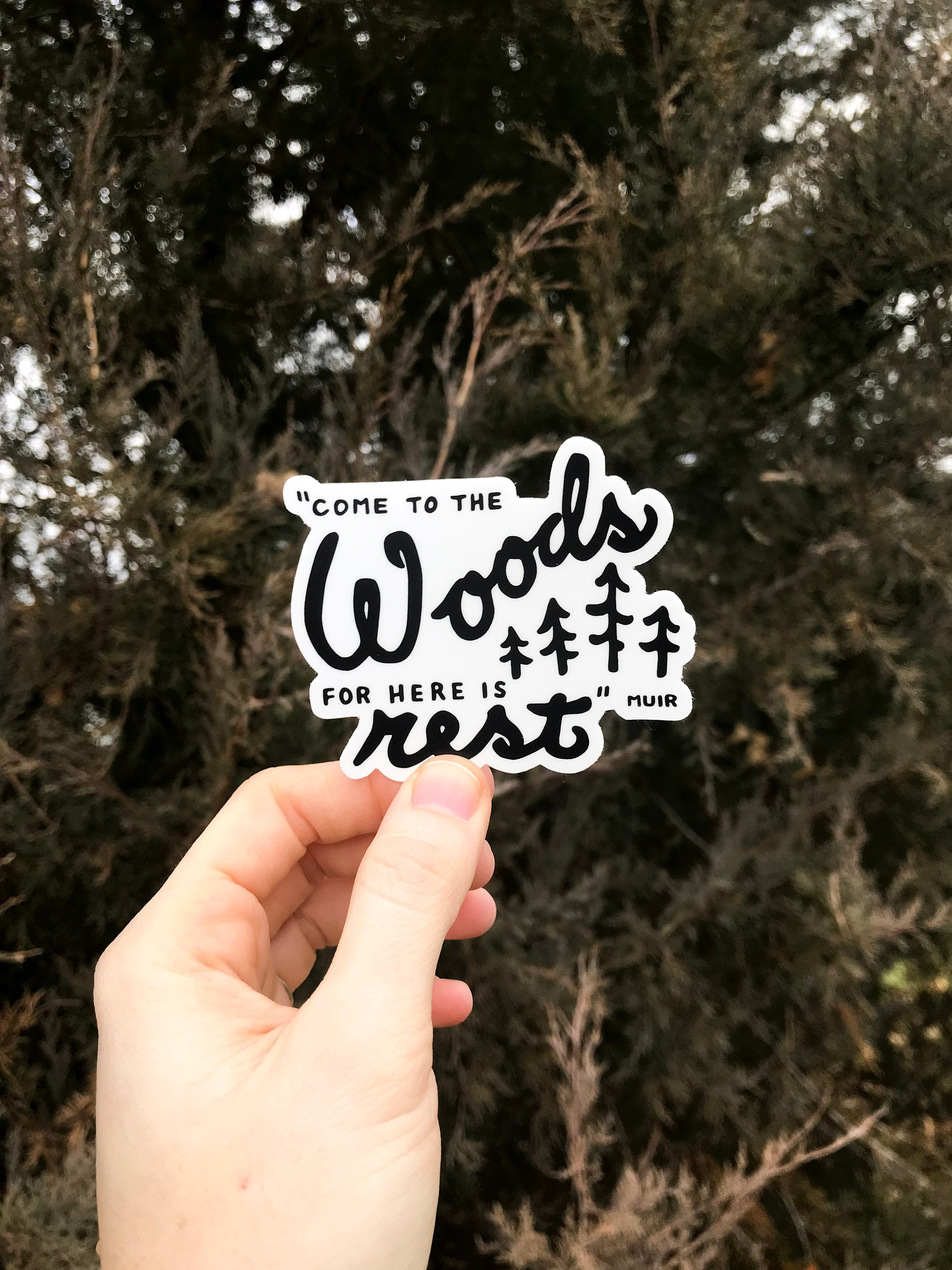 The Woods Quote Sticker John Muir Sticker Forest Decal Etsy