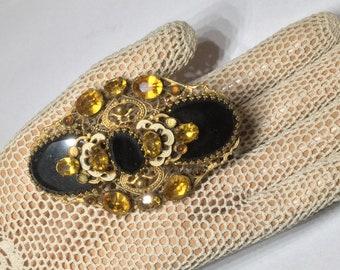 Art Deco Black and Gold Filigree Rhinestone Brooch Sash Pin