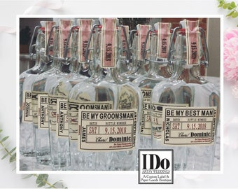 Groomsman Liquor Flask with Labels - Liquor Flask - Will you be my Groomsman Gift -  Hinged Flask 250ml - 8.5oz -  Bottle & Labels