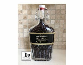 Groomsmen Gift, Groomsmen Flask, Groomsmen Proposal Gift, Personalized Groomsman Gift, 500ml Glass Flask, Custom Labeled Drink Flask, U FILL