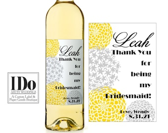 Bridesmaid Thank you Label, Custom Wine Labels, Grey and Yellow Flowers, Garden Wedding, Will you be my Bridesmaid?