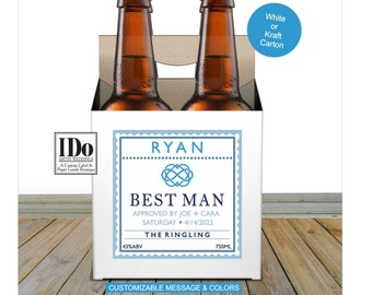 Beer Carton and Label - Personalized Four Pack Box & Label - Beer Carrier Box + Custom Label - Infinity Heart Groomsmen  Proposal for a 4pk
