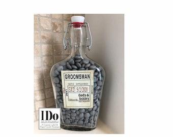 Groomsmen Gift, Groomsmen Flask, Groomsmen Proposal Gift, Personalized Groomsman Gift, 500ml Glass Flask, Bachelor Party, U FILL