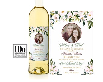 Parents Wine Label - Custom Wine Label - Printed - Personalized Wine Label - Thank You for the Wedding Mom Dad  - Photo sticker