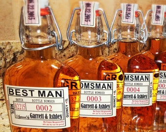 Groomsman Bottle Flask with Labels - Liquor Bottle Flask - Hinged Liquor Bottles - Hinged Flask 500ml - 17oz bottle