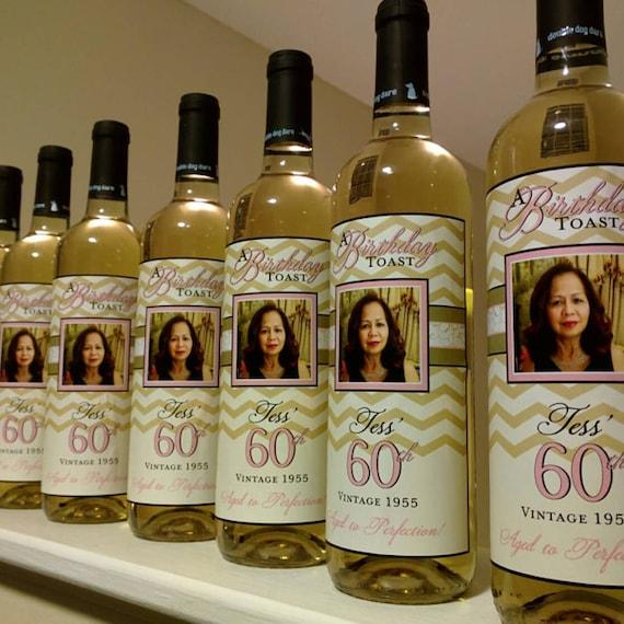 birthday wine label custom wine label personalized wine etsy