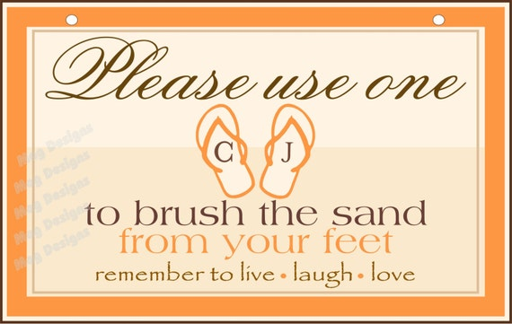 23607c6cf Beach Wedding Sand Brush Sign - Customized - Great for your Flip Flop Basket