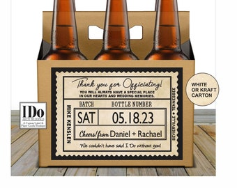 Officiant Beer Carton and Label - Personalized Six Pack Box & Label - Beer Carrier Box and Custom Label - Officiant Thank You  - for a 6pk