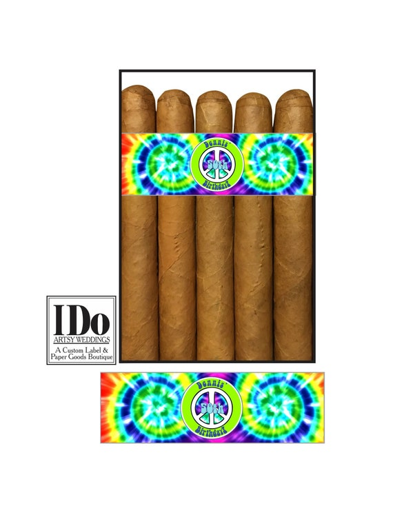 Tie Dye Bands Peace Sign Custom Printed for you Birthday Cigar Bands Cigar Labels for Wedding Party Classy Cigar Bands 60/'s