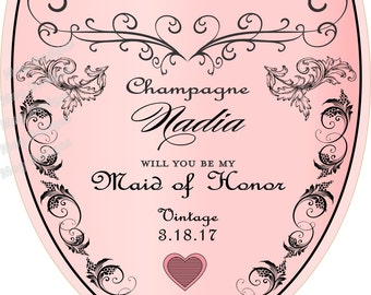 Personalized Bridesmaid Champagne Labels - Bridesmaid Gifts - Will you be my Bridesmaid Champagne Label - 1 Labels