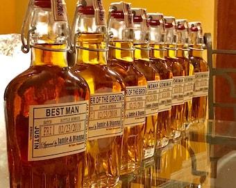 Groomsmen Flask with Labels   Liquor Flask   Hinged Flask 500ml   17oz    Bottle & Labels