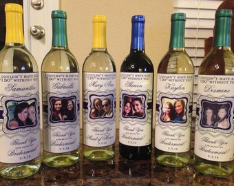Wine Labels - Personalized Bridesmaid Wine Labels - Chevron Bridesmaid Gifts - Favors, Bridal Showers, Wedding Decor