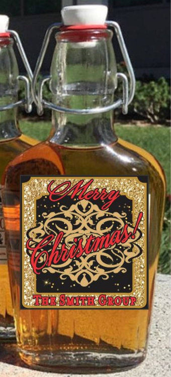 christmas liquor flasks with labels custom business labels