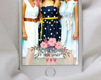 SNAPCHAT GEOFILTER, Custom Snapchat Geofilter, Bridal Shower geofilter, Snapchat filter, Floral snapchat geofilter, Flowers, simple,  Shower