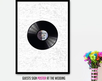 Custom Vinyl Record Wedding Guest Book Alternative, Wedding Guestbook alternative Sign, Wedding Guestbook poster, Wedding Sign Guest book