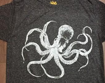 Kraken Octopus T-Shirt MADE IN USA Speckled Charcoal Black