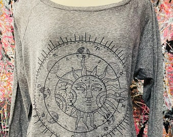 """SUN and MOON Astrological Signs Planetary Ladies Slouchy """"Sweatshirt"""" style Pullover T-shirt Made in USA"""
