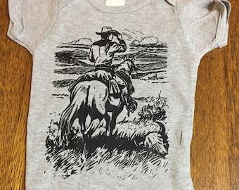 Western Cowboy on Horse Baby Onesie Bodysuit T-shirt Original Art Screenprint  Great Gift!