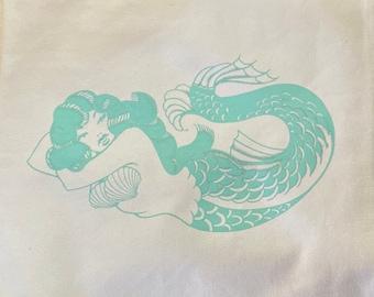 Retro Mermaid Canvas and Jute Burlap Hand Printed Pillowcase