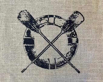 Nautical Rowing Oars Jute Burlap Hand Printed Pillowcase