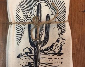 Retro Desert Saguaro Cactus Original Screenprint Tea Towel Organic Cotton Flour Sack Made in USA FREE Shipping!
