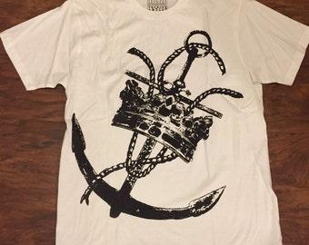 Nautical Anchor Crown Art Print 100% Cotton T-shirt