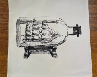 Ship In A Bottle Canvas and Jute Burlap Hand Printed Pillowcase