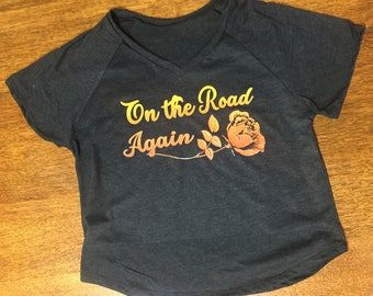 On The Road Again Loose fit v-neck t-shirt Made in USA