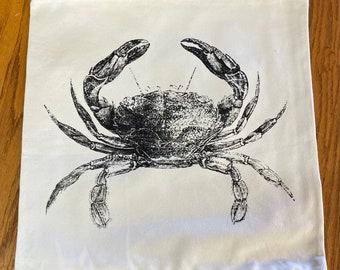 Illustrative CRAB Canvas and Jute Burlap Hand Printed Pillowcase