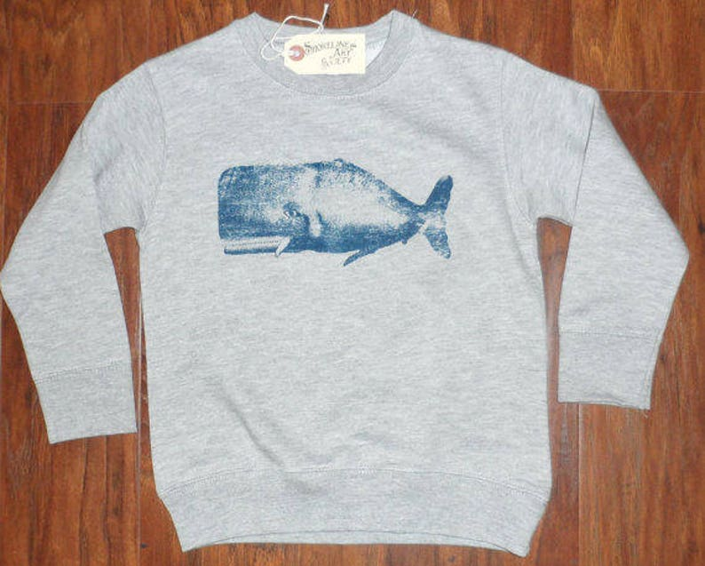 Toddlers WHALE crew neck Sweatshirt MADE in USA