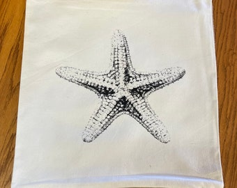 STARFISH Canvas and Jute Burlap Hand Printed Pillowcase