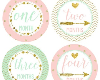 Baby Girl Monthly Stickers, Baby Month Stickers  Mint, Blush Pink, Gold Chevron Photo Prop, Tribal Arrow Woodland Nursery Decor