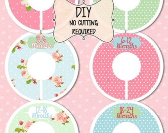 Custom Closet Dividers Organizers Baby Girl Shower Nursery Decor Clothing  Chic Floral Roses Baby Clothes