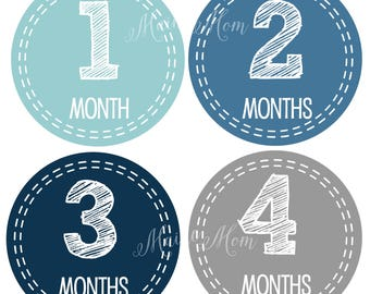 FREE GIFTS! 16 Baby Boy Month Stickers, Baby Monthly Stickers, Milestone Stickers,  Baby Boy Nursery Decor, Navy, Blue, Gray Baby