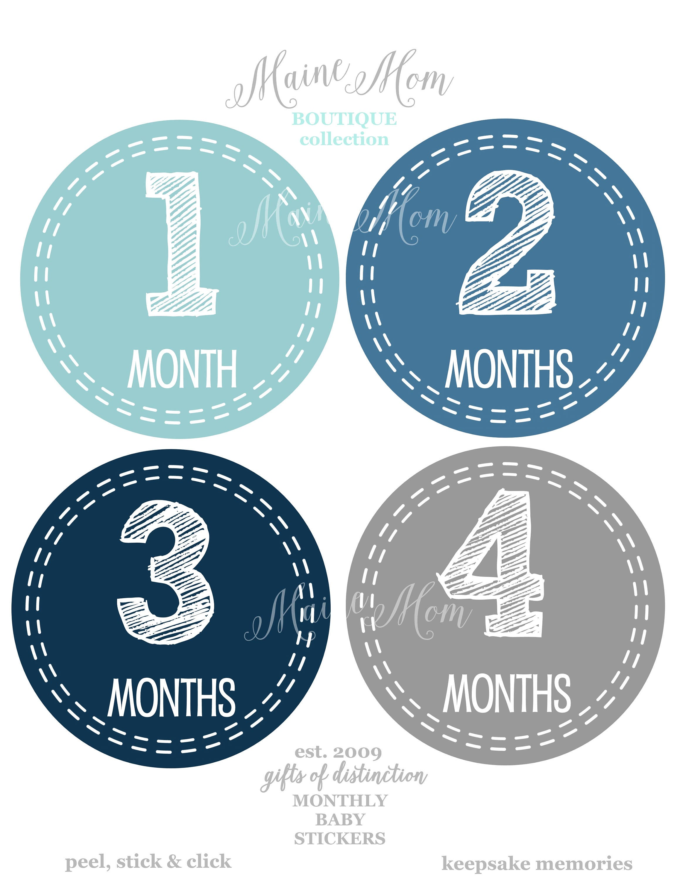 Set Of 16 Baby Boy Month Stickers Baby Monthly Stickers Etsy