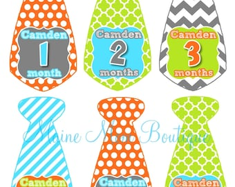 Personalized Baby Boy Monthly Stickers, Milestone Stickers Month Photo Prop Bodysuit Baby Sticker  Stripes Chevron Dots Tie