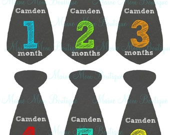 PERSONALIZED, Baby Boy Monthly Tie Stickers, Baby Month Stickers, Photo Prop,  Free Just Born and week stickers