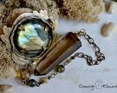 Smoky Quartz and Labradorite Pendulum - Persephone's Mirror