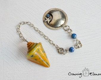 Amber Glass Seashell & Denim Lapis Pendulum ~ Adrift Collection