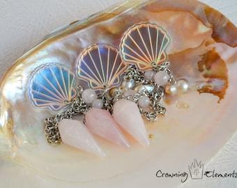 Rose Quartz Seashell Pendulum ~ Adrift Collection