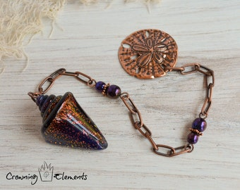 Lilac Glass Seashell Pendulum ~ Adrift Collection