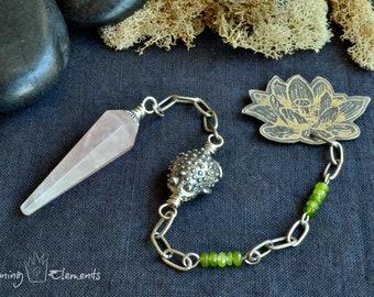 Rose Quartz Lotus Pendulum
