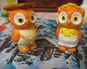 mr and mrs wise  cutie pie owls salt and peppers