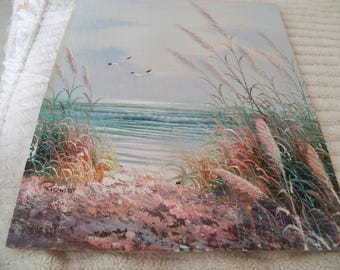 beach scene oil painting signed
