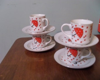 4 small  porcelain  cups and saucers for children rainy hearts  day umbrella fun