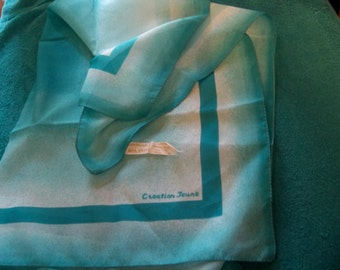 Monique martin  creations  made in  ITALY turquoise  polyester  vintage scarf