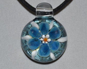 Handblown Glass Flower Pendant - Boro Heady Glass Necklace - Lampwork Glass Jewelry