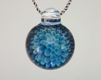 Heady Glass Pendant Necklace - Trippy Glass Pendant - Lampwork Pendant - Hand Blown Glass Jewelry - Boro Pendant - Blue Implosion