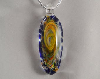 Hand Blown Glass Pendant Necklace - Lampwork Glass Jewelry - Handblown Boro Pendant